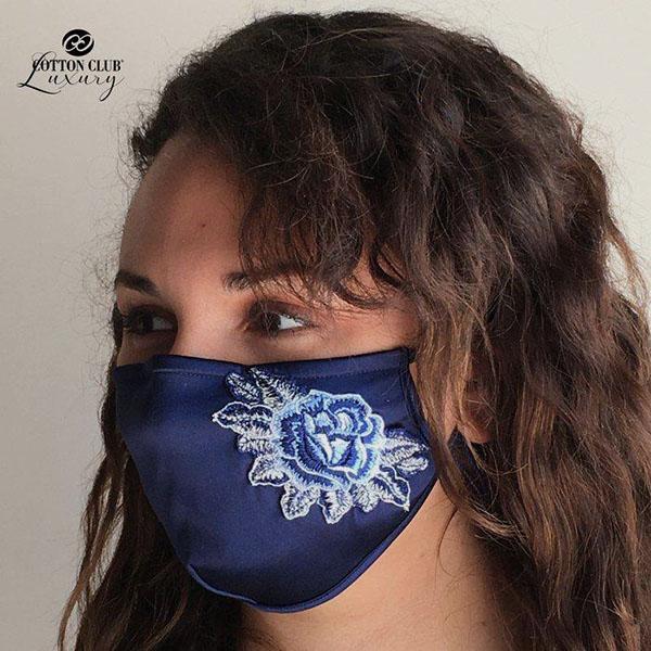コットンクラブ  家庭用 おしゃれマスク 予防 シルク ネイビー イタリア製 当商品はクリックポスト対応、送料無料でお送りします。 lisecharmel 02