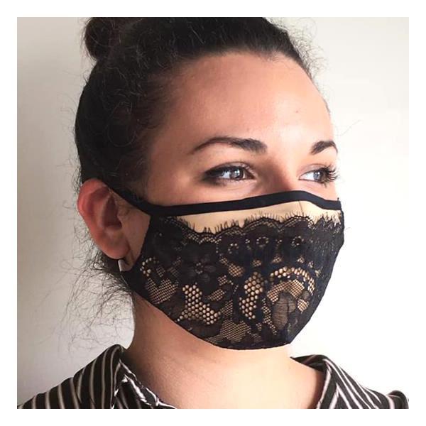 コットンクラブ  家庭用 おしゃれマスク 予防 レース ブラック イタリア製 当商品はクリックポスト対応、送料無料でお送りします。 lisecharmel 02
