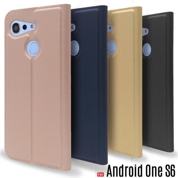 AndroidOneS6ケース手帳型スマホケースAndroidOneS6カバー薄型閉じたまま通話