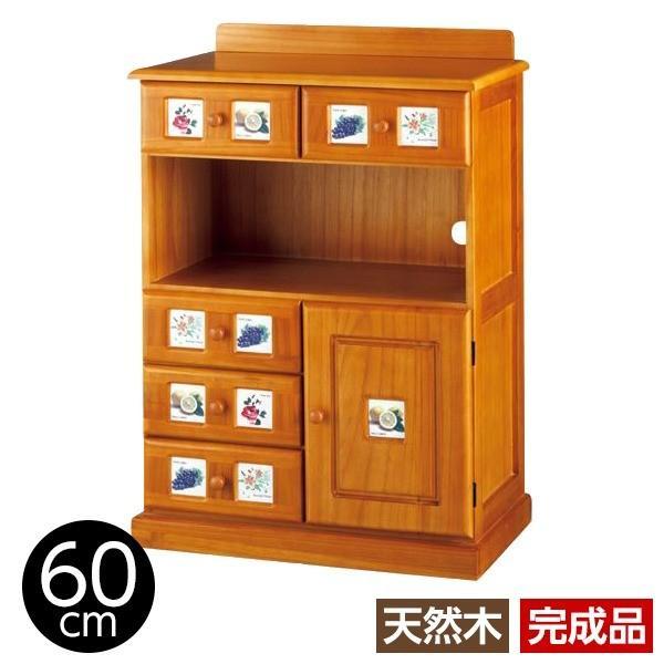 サイドボード/リビングボード (南欧風家具) 〔3: 幅60cm〕 木製 ライトブラウン 〔完成品〕