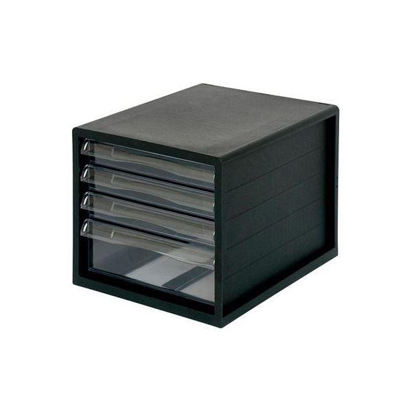 (業務用セット) A4レターケース4段(浅3+深1) ブラック A4E-04B〔×2セット〕