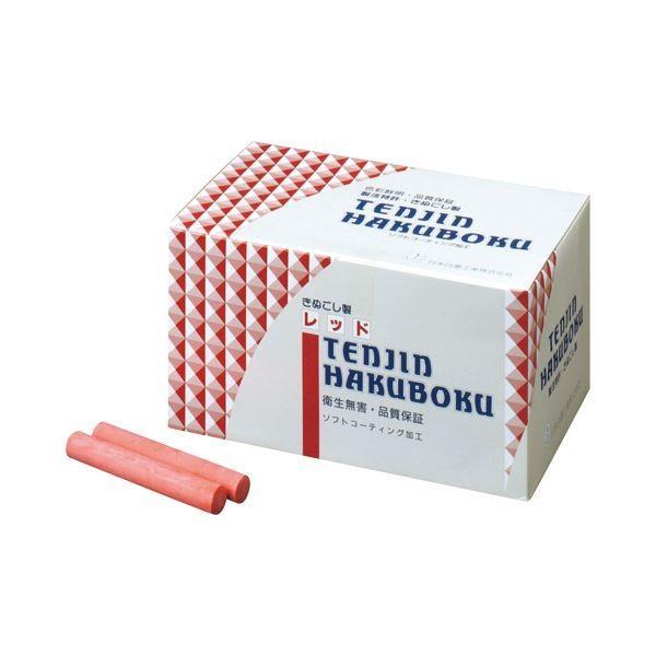(まとめ) 日本白墨 天神印チョーク(石膏カルシウム製) 赤 CH-2 1箱(100本) 〔×4セット〕
