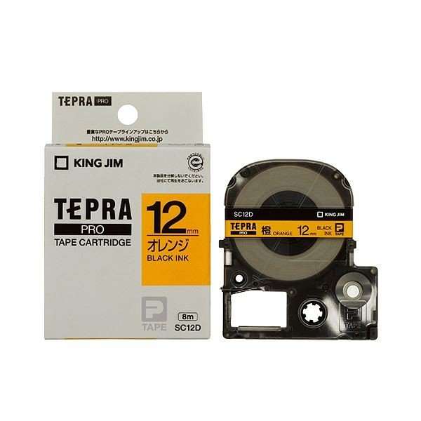(まとめ) キングジム テプラ PRO テープカートリッジ パステル 12mm オレンジ/黒文字 SC12D 1個 〔×5セット〕