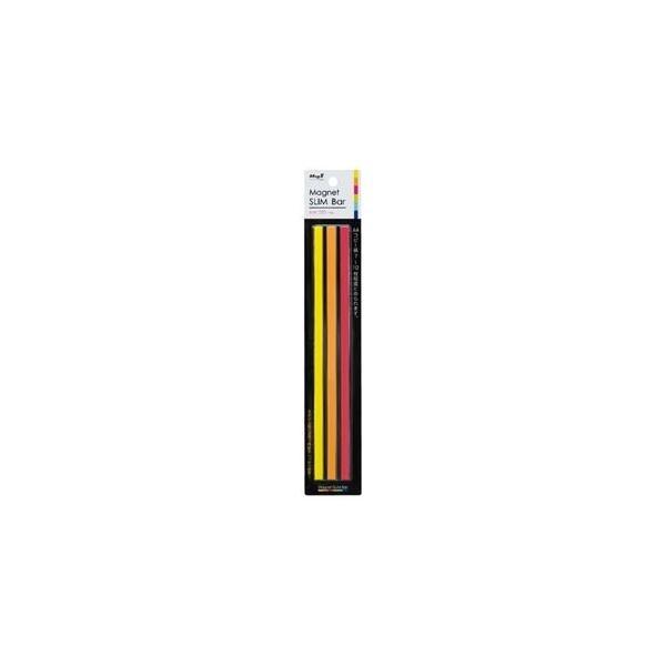 (まとめ) マグエックス マグネットスリムバー W220×H6×D7mm 暖色(桃・橙・黄) MSLB-220-3P-H 1パック(3本:各色1本) 〔×15セット〕