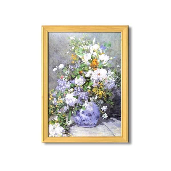 名画額縁/桧フレームセット 〔A3〕 ルノワール 「花瓶の花」 343×466×230mm 壁掛けひも付き
