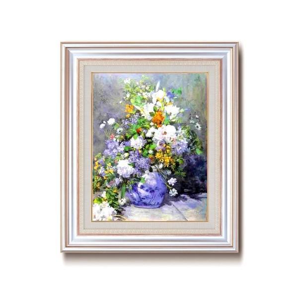 名画額縁/フレームセット 〔F6AS〕 ルノワール 「花瓶の花」 477×571×59mm 壁掛けひも付き