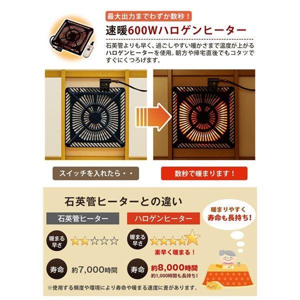 コタツ継脚式手元コントローラー120cm 長方形 ブラウン(BR)〔代引不可〕