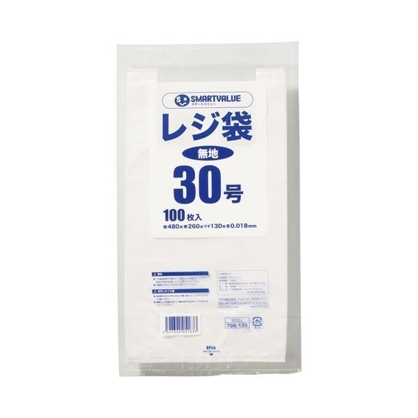 (まとめ) スマートバリュー レジ袋 30号 100枚 B930J〔×10セット〕