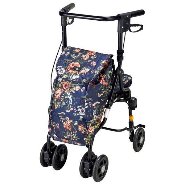 折りたたみ キャリーカート/ショッピングカート 〔花柄〕 幅44×奥行56×高さ80.5〜89.5cm 椅子付き 『スイスイ歩けるアンティ』