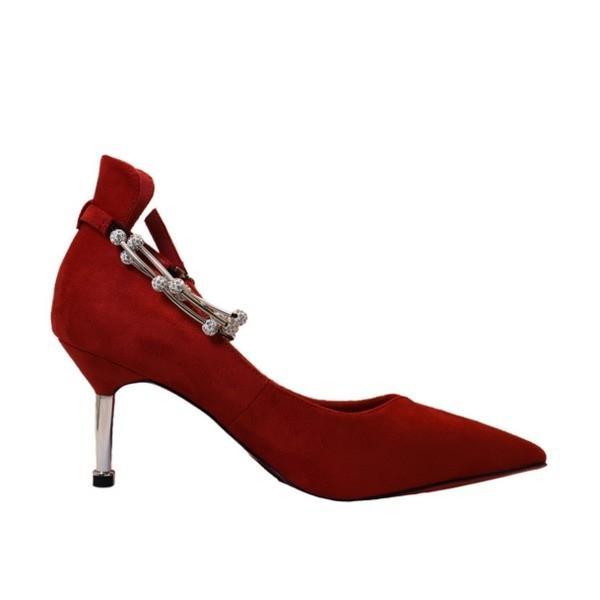 〔フーレエル〕(K6102)アンクレット風パンプス 足が綺麗に見えるカットデザイン 23.5cm 紅