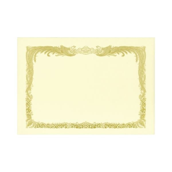 (まとめ) TANOSEE 賞状用紙 クリーム A4 タテ書用 業務用パック 1ケース(100枚) 〔×5セット〕