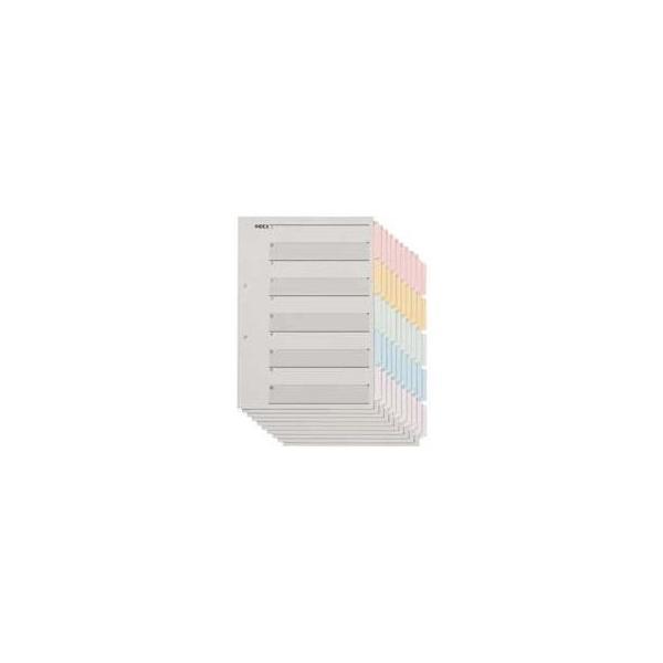 (まとめ) TANOSEE 見出しカード(エコノミータイプ) A4タテ 2穴 5色5山+扉紙 1パック(10組) 〔×30セット〕