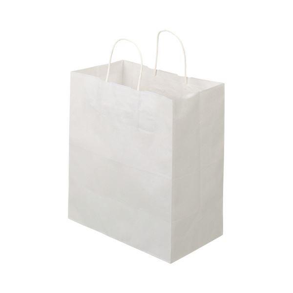(まとめ)TANOSEE 紙手提袋 丸紐マチ広・中 ヨコ320×タテ350×マチ幅180mm 白無地 1パック(50枚)〔×5セット〕