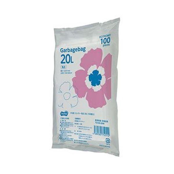 (まとめ)TANOSEE ゴミ袋エコノミー乳白半透明 20L 1パック(100枚)〔×20セット〕