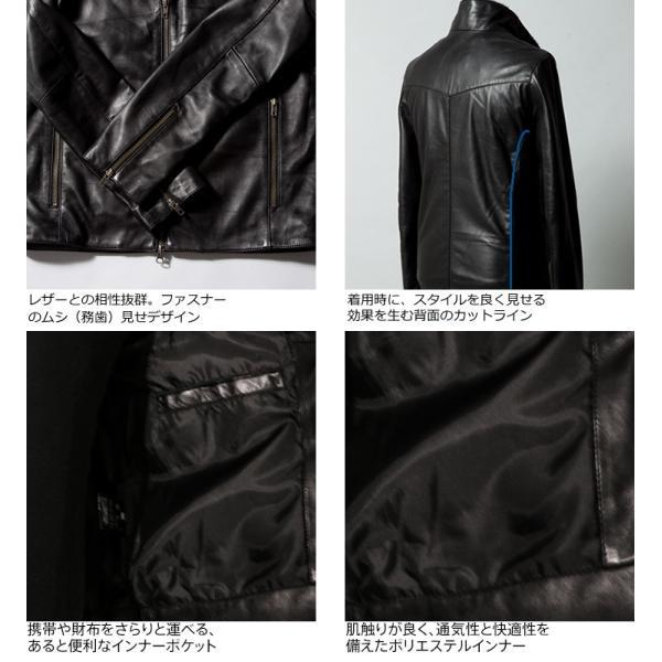 LIUGOO 本革 襟ボアハイネックシングルジャケット  メンズ リューグー WNG02B  レザージャケット ライダースジャケット AP|liugoo|18