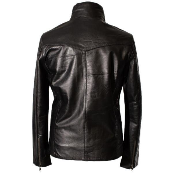 LIUGOO 本革 襟ボアハイネックシングルジャケット  メンズ リューグー WNG02B  レザージャケット ライダースジャケット AP|liugoo|20