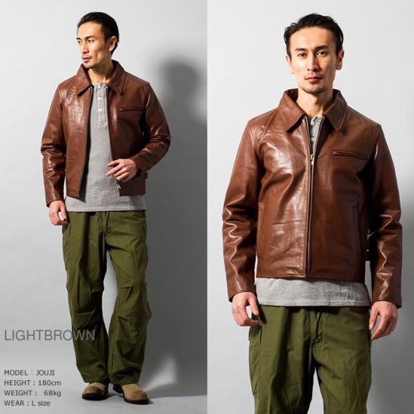 Horn Works 本革 襟付きシングルライダースジャケット メンズ ホーンワークス 4766|liugoo|06