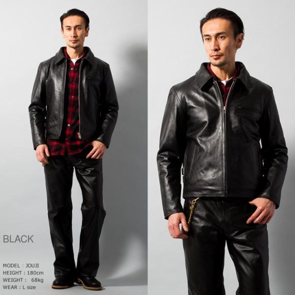 Horn Works 本革 襟付きシングルライダースジャケット メンズ ホーンワークス 4766|liugoo|09