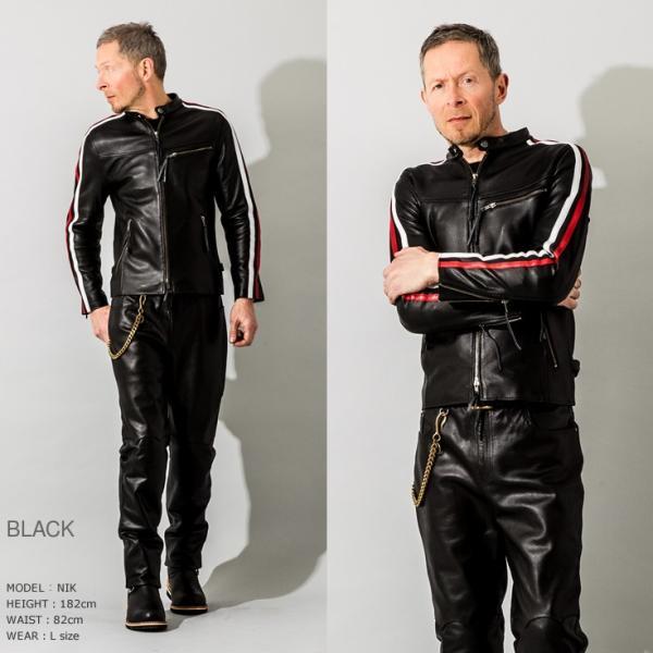 Liugoo Leathers 本革 メッシュレザー 2ラインシングルライダースジャケット メンズ リューグーレザーズ SRS04B  シングルライダース ライダースジャケット 黒|liugoo|11