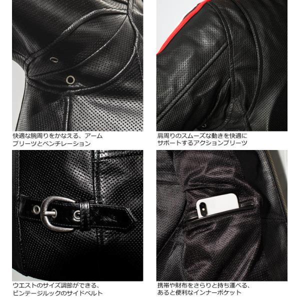 Liugoo Leathers 本革 メッシュレザー 2ラインシングルライダースジャケット メンズ リューグーレザーズ SRS04B  シングルライダース ライダースジャケット 黒|liugoo|15