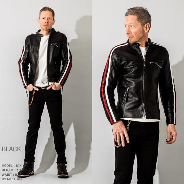 Liugoo Leathers 本革 メッシュレザー 2ラインシングルライダースジャケット メンズ リューグーレザーズ SRS04B  シングルライダース ライダースジャケット 黒|liugoo|07