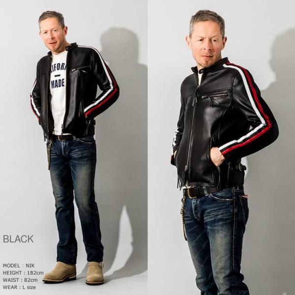 Liugoo Leathers 本革 メッシュレザー 2ラインシングルライダースジャケット メンズ リューグーレザーズ SRS04B  シングルライダース ライダースジャケット 黒|liugoo|09