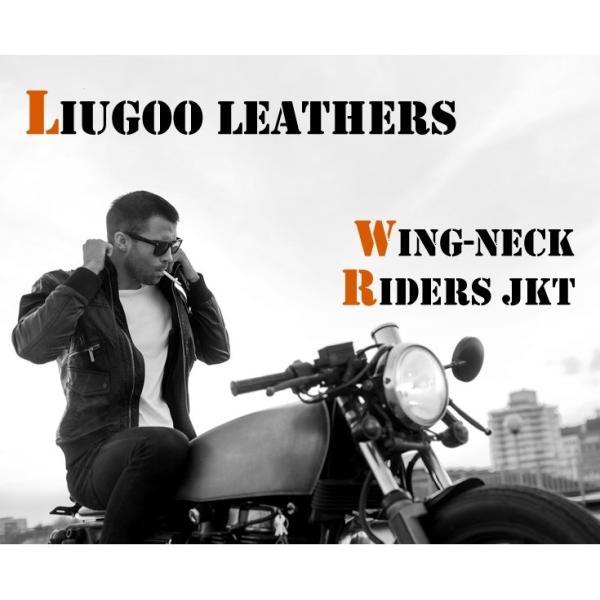 Liugoo Leathers 本革 襟ボアハイネックシングルライダースジャケット メンズ リューグーレザーズ WNG01A  レザージャケット バイカージャケット AP|liugoo|02