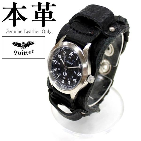 cbdbef187e 2WAYサイドレザー巻きウォッチ メンズ 本革 quitter QTW035BK 腕時計 ウォッチ 革ジャン・革製品 ...