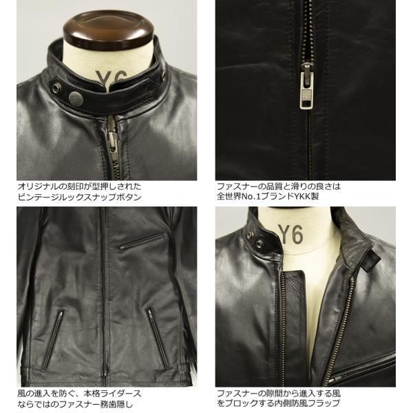 Liugoo Leathers 本革 シングルライダースジャケット メンズ リューグーレザーズ SRS01A  レザージャケット バイカージャケット AP|liugoo|15