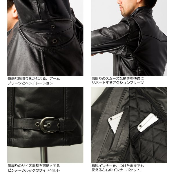 Liugoo Leathers 本革 シングルライダースジャケット メンズ リューグーレザーズ SRS01A  レザージャケット バイカージャケット AP|liugoo|16