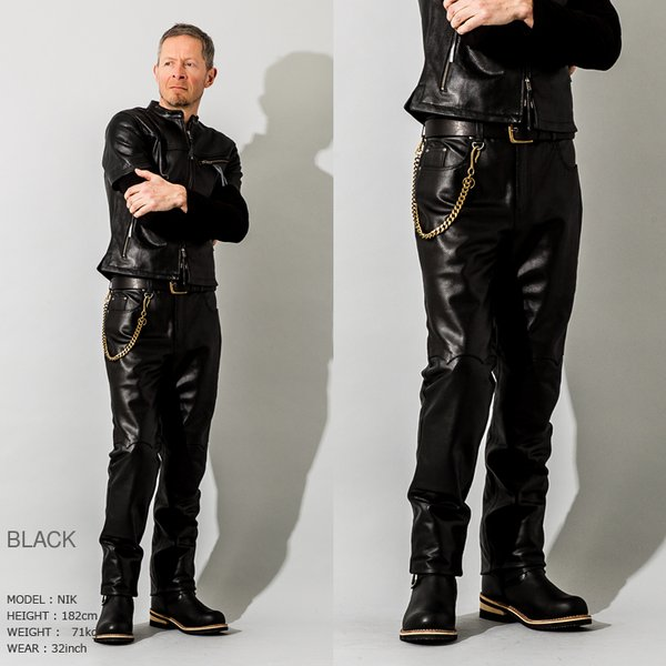 Liugoo Leathers 本革 メッシュレザーパンツ レギュラーフィット メンズ リューグーレザーズ STP04B  レザーパンツ 本革パンツ 本皮パンツ ライダースパンツ 黒|liugoo|09