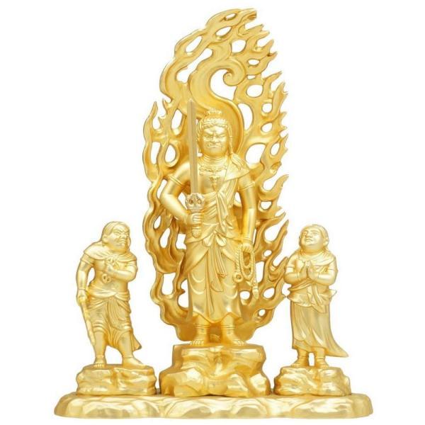 [仏像] 童子不動明王 16.0cm 金鍍金仕上 合金製【送料無料(北海道/沖縄離島除く)】