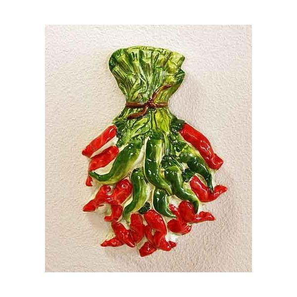 イタリア製 輸入雑貨 バッサーノ 陶器 壁飾り 唐辛子 ペペロンチーノ 壁掛け キッチン レストラン カフェ ビストロ BRE-2309PE 直輸入 リビングスタジオ