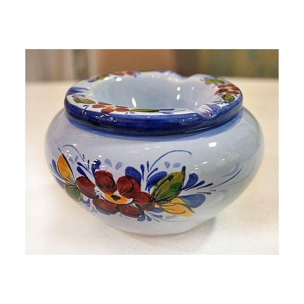ポルトガル製 輸入雑貨 直輸入 陶器 灰皿 フタ付き 丸型 花柄 ブルー 青 手描き アルコバサ 11.5cm PFA-636B