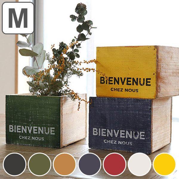 鉢カバー カラーウッドボックスM プランター フラワーポット 木製 ( 植木鉢 カバー 収納 ボックス ガーデニング 雑貨 )