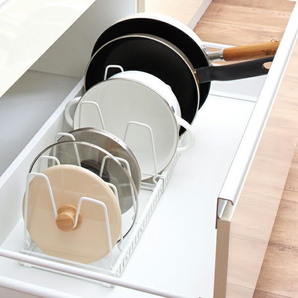 フライパン収納 伸縮式フライパン&鍋ブタスタンド ファビエ キッチン収納 ( フライパンスタンド フライパンラック スライドラック )