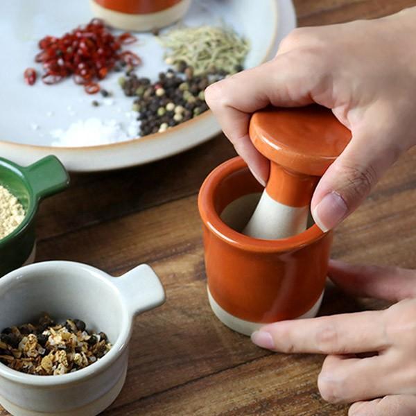 スパイスミル 6cm 瀬戸焼 ビスク 乳鉢 乳棒 セット 食器 磁器 日本製 ( スパイスつぶし ミル スパイス挽き 手動 )