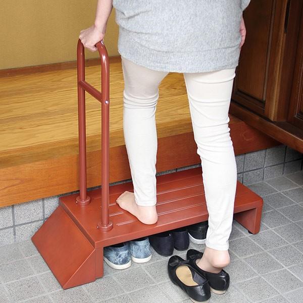踏み台 玄関ステップ 手すり 木製 組立品 ( 約 幅81cm 玄関 段差 玄関台 手すり付き ステップ台 転倒防止 介護 )