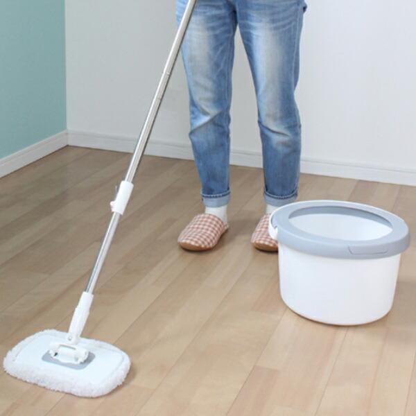 回転モップ トルネードプラス 角型 水拭き モップ バケツ 床掃除 ( 掃除 伸縮柄 洗浄 脱水 回転 )