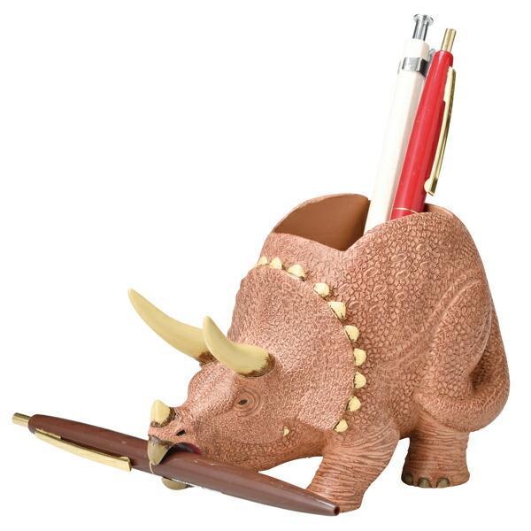 ステーショナリースタンド ペン立て 文房具 トリケラトプス 恐竜 ( ペンスタンド 鉛筆立て 収納 デスク 文房具 )