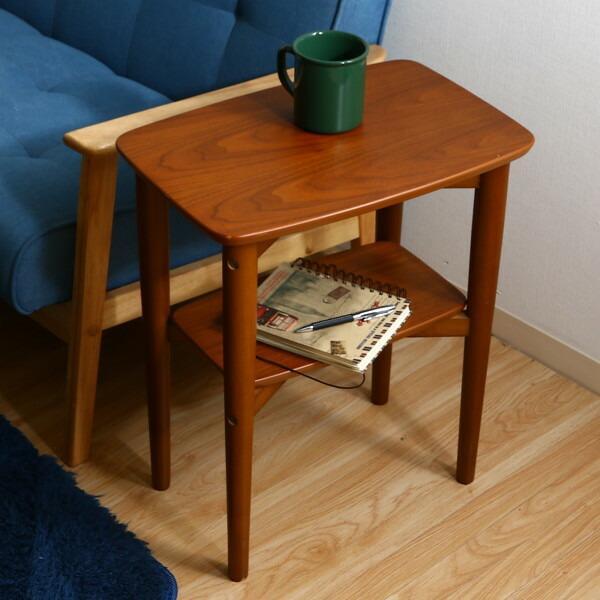サイドテーブル 高さ53cm 木製 テーブル ラック 机 つくえ デスク コンパクト ( ソファテーブル ベッドサイドテーブル ミニテーブル 棚 収納 約 高さ50cm )