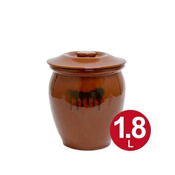 漬物容器 丸かめ 1号 1.8L 蓋付き 陶器 ( 漬物樽 つけもの容器 漬け物容器 )