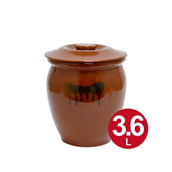 漬物容器 丸かめ 2号 3.6L 蓋付き 陶器 ( 漬物樽 つけもの容器 漬け物容器 )
