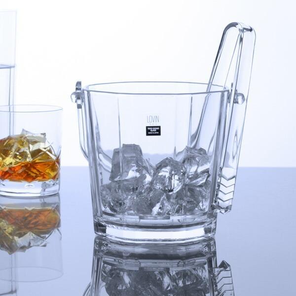 アイスペール氷入れカラフェラビンアイストング付きガラス製(食洗機対応ガラス容器氷容器)