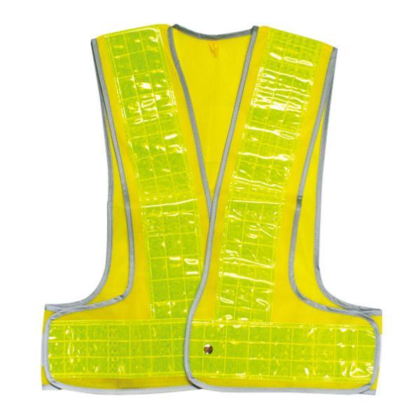 安全ベスト 高反射タイプ フチぴかベスト イエロー/イエロー フリーサイズ ( 安全用品 作業服 工事 )