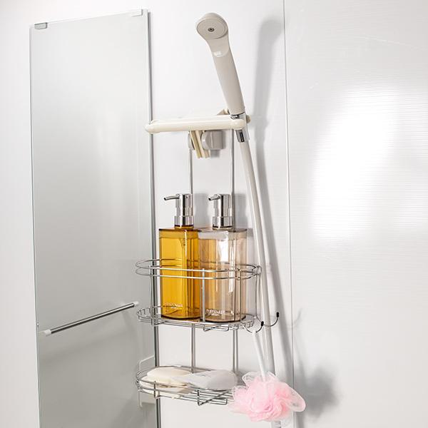 ステンレスシャワーラック 2段 浴室収納 ステンレス お風呂 ラック 吊り下げ 収納 ( シャンプーラック シャワーホルダー バス収納 バス用品 )