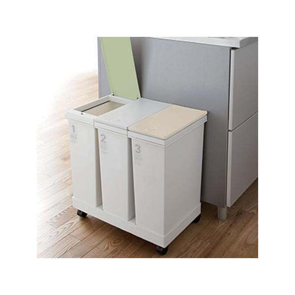 6742a2f13f □在庫限り・入荷なし□分別ゴミ箱 資源ゴミ 横型3分別ワゴン グリーン ...