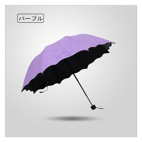 日傘 雨傘 UVカット 晴雨兼用傘 遮光 遮熱 軽量 涼しい 花柄 紫外線カット 紫外線対策 傘 折り畳み傘 レディー 雨具 3段折りたたみ式|liz-store|04