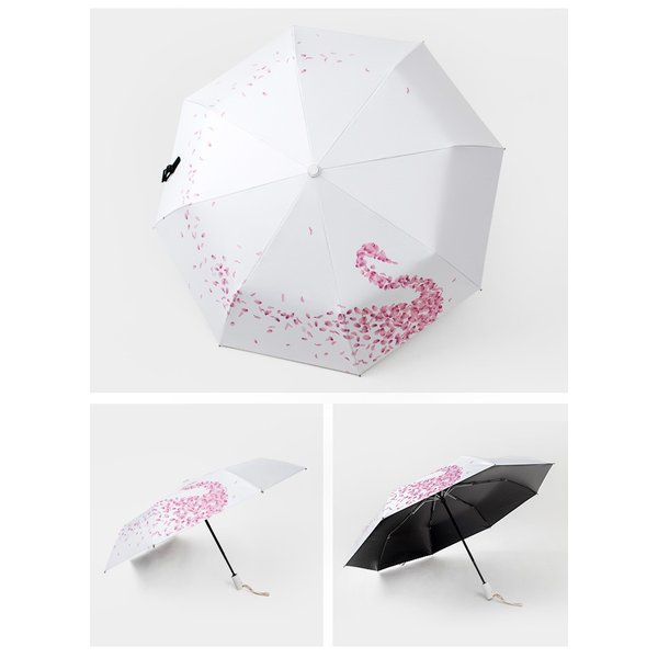 日傘 折りたたみ傘 レディース おしゃれ 軽量 晴雨兼用 自動開閉 折りたたみ傘 花柄 白鳥柄 UVカット ワンタッチ 遮光 遮熱 3段折りたたみ  雨傘 紫外線対策|liz-store|08