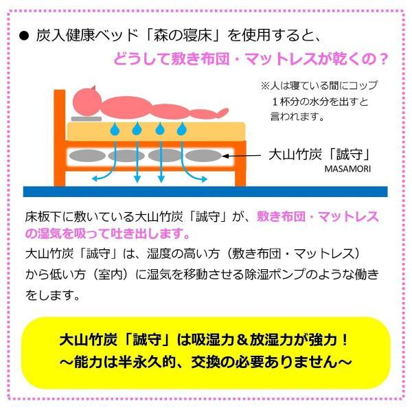 スノコベッド ふとん用 すのこベッド シングル 森の寝床 竹炭入り3分割フロアベッド 日本製 湿気対策 炭 除湿 脱臭 健康 片付け簡単 送料無料|lizumointl|12
